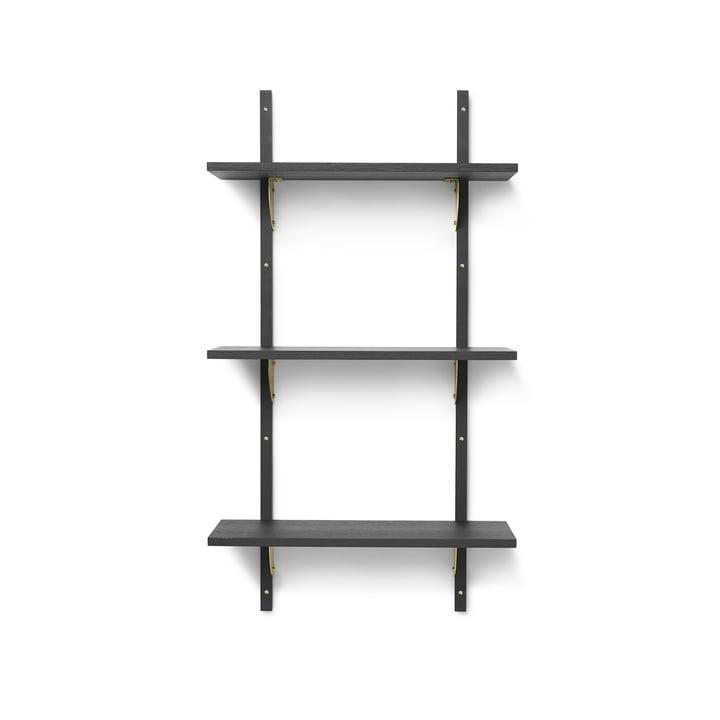 Sector Wandregal triple, 54 cm, Esche schwarz / Messing von ferm Living