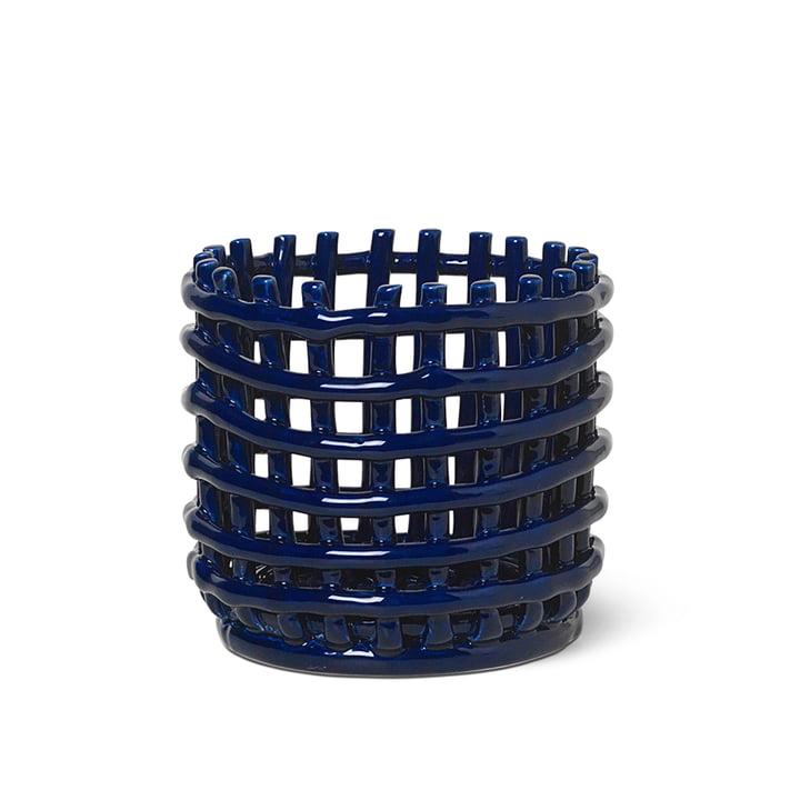 Keramik Korb klein von ferm Living in blau