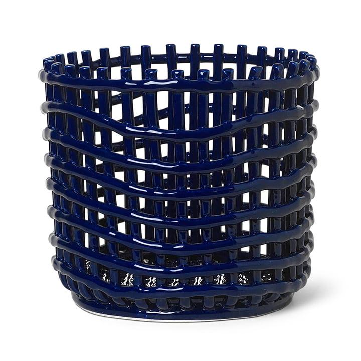 Keramik Korb groß von ferm Living in blau