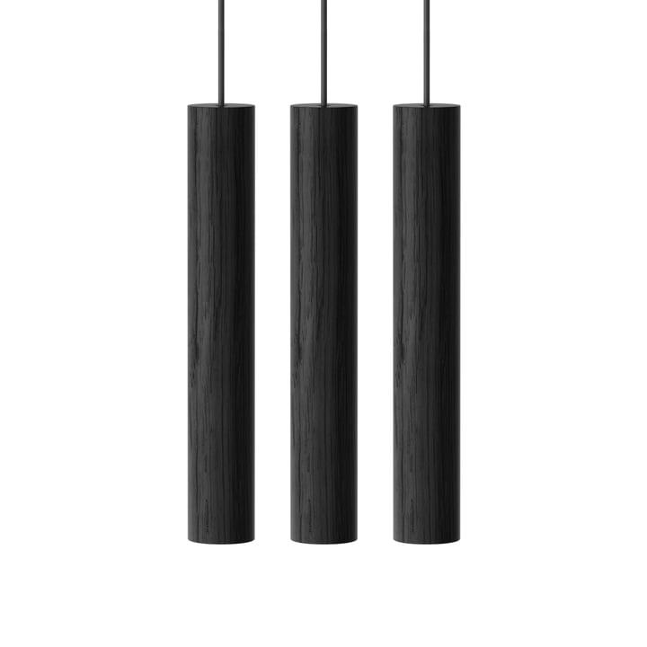 Chimes Cluster 3 LED-Pendelleuchte, Ø 3 x 22 cm, schwarz von Umage