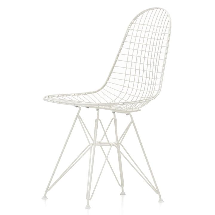 Wire Chair DKR (H 43 cm) von Vitra in weiß / ohne Bezug, Filzgleiter (weiß)