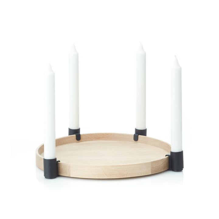 Luna MAXI Kerzenhalter von applicata in Eiche / schwarz