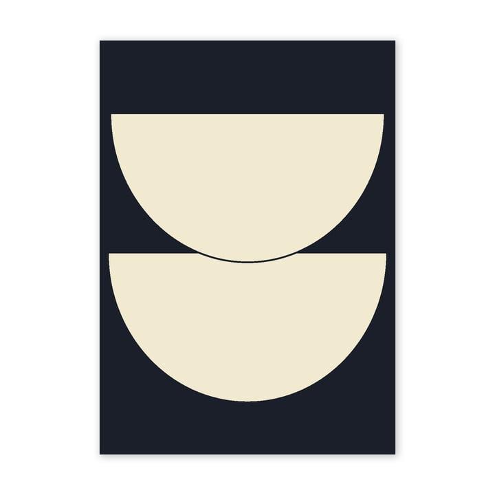 Half Circles I Poster, 50 x 70 cm, blau von Paper Collective