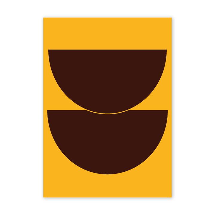 Half Circles II Poster, 50 x 70 cm, gelb von Paper Collective
