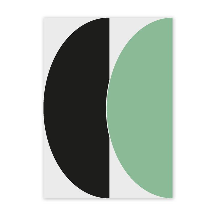 Half Circles III Poster, 50 x 70 cm, grün / blau von Paper Collective