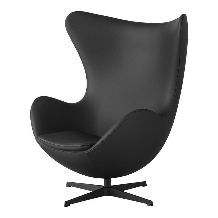 Egg Chair von Fritz Hansen in schwarz / Spectrum Leder dunkelgrau (Sonderedition)