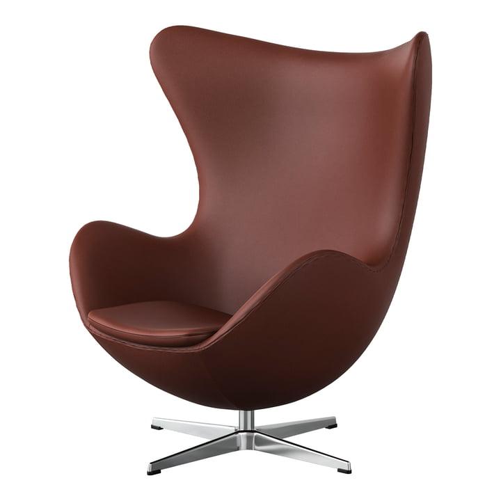 Egg Chair von Fritz Hansen in Chrom / Spectrum Leder rostbraun (Sonderedition)