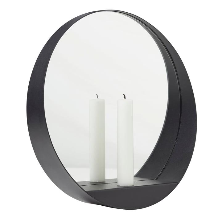 Glim Candle Wandspiegel Ø 28 cm von Gejst in schwarz