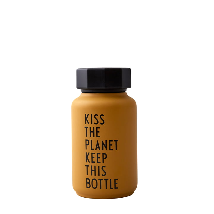 AJ Thermosflasche Hot & Cold 0,33 l, Kiss The Planet Keep This Bottle / senf (Sonderedition) von Design Letters