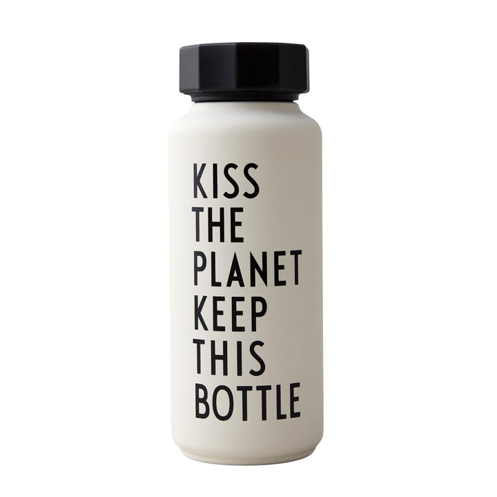 AJ Thermosflasche Hot & Cold 0,5 l, Kiss The Planet Keep This Bottle / weiß (Sonderedition) von Design Letters