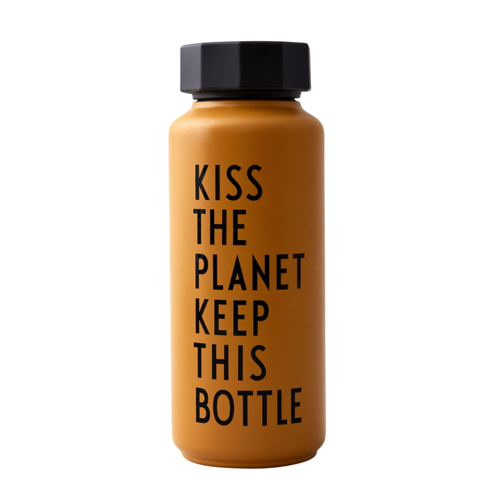 AJ Thermosflasche Hot & Cold 0,5 l, Kiss The Planet Keep This Bottle / senf (Sonderedition) von Design Letters
