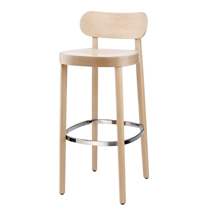 118 H Barstuhl von Thonet in Buche gebeizt (TP 107 aufgehellt) / Sitz: Muldensitz