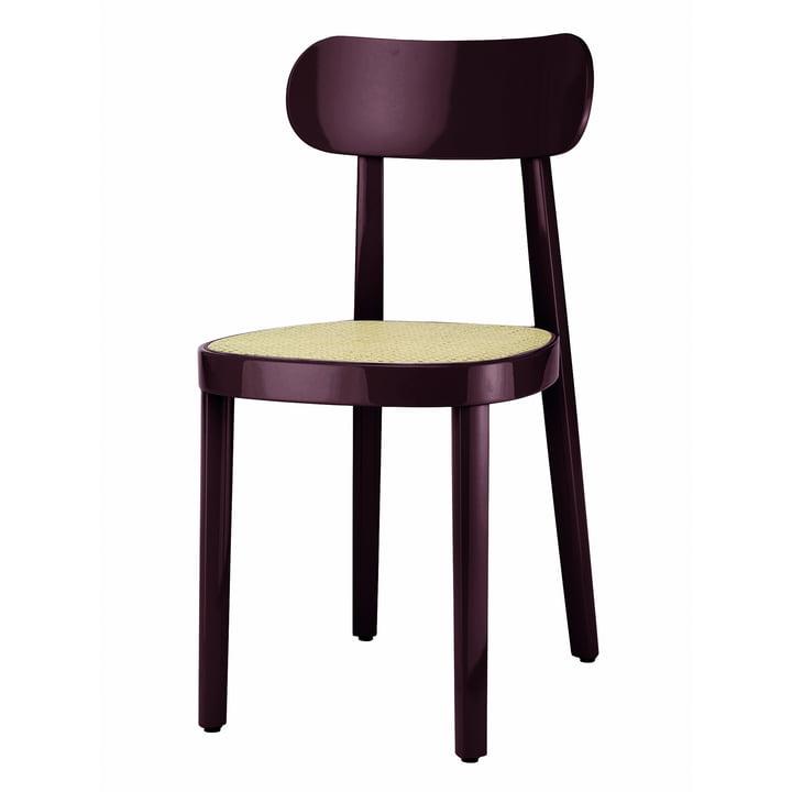 118 Stuhl von Thonet mit Rohrgeflecht mit Kunststoffstützgewebe in Buche dunkelbraun-violett hochglanz lackiert