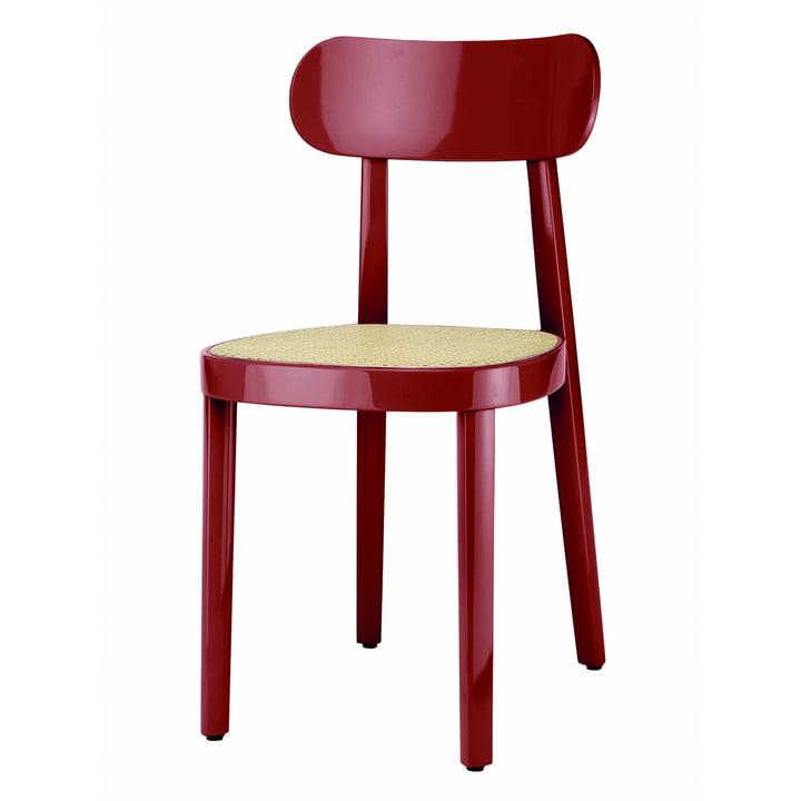 118 Stuhl von Thonet mit Rohrgeflecht mit Kunststoffstützgewebe in Buche dunkelrot hochglanz lackiert