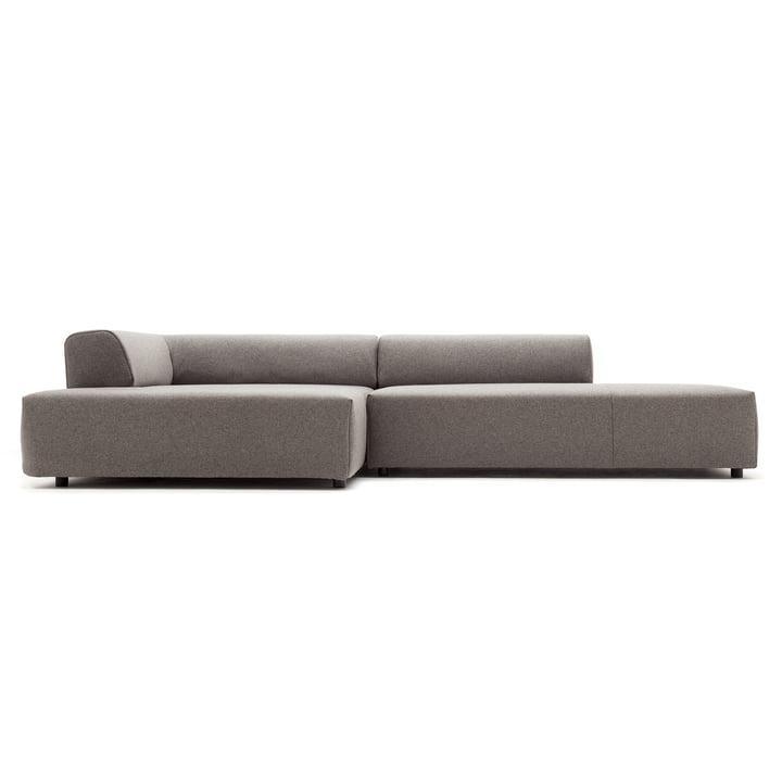 184 Sofa, Récamiere links, Bezug beigegrau (7404) / Standardfuß Kunststoff von freistil