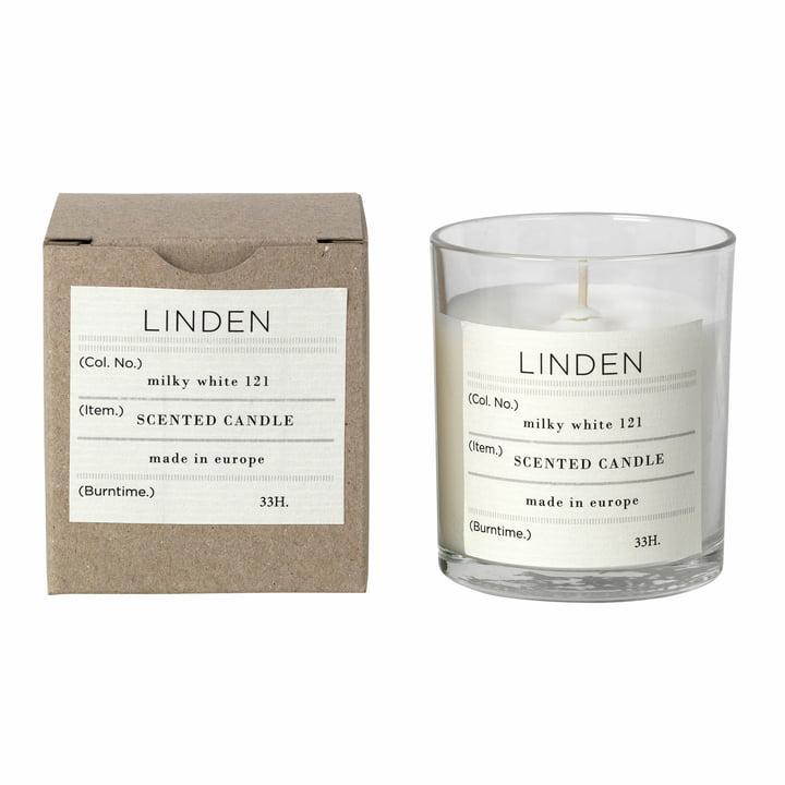 Linden Duftkerze, Ø 8 x H 8 cm, weiß von Broste Copenhagen