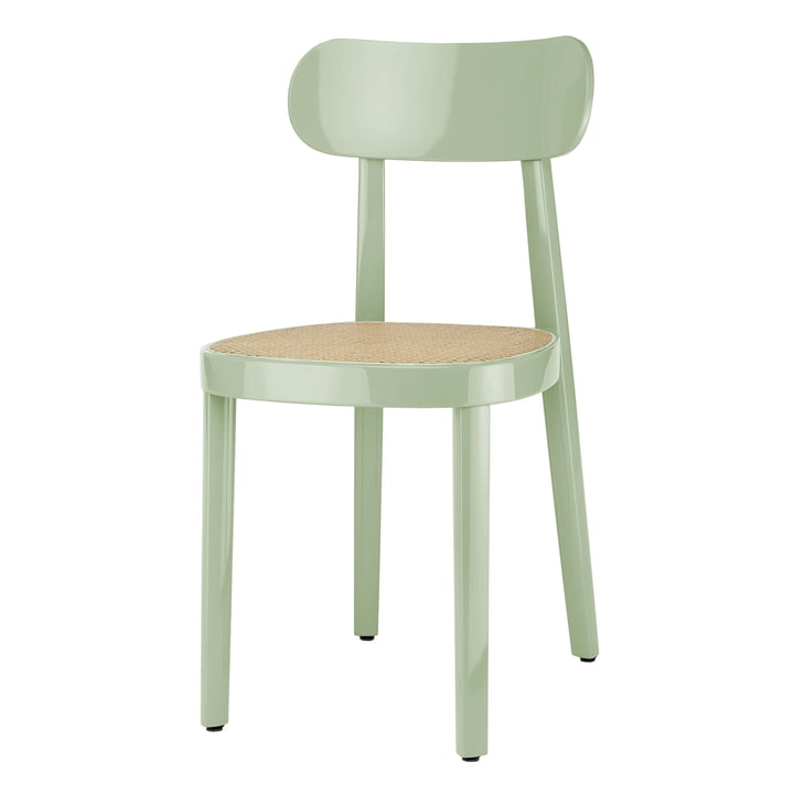 118 Stuhl von Thonet mit Rohrgeflecht mit Kunststoffstützgewebe / Buche mint hochglanz lackiert