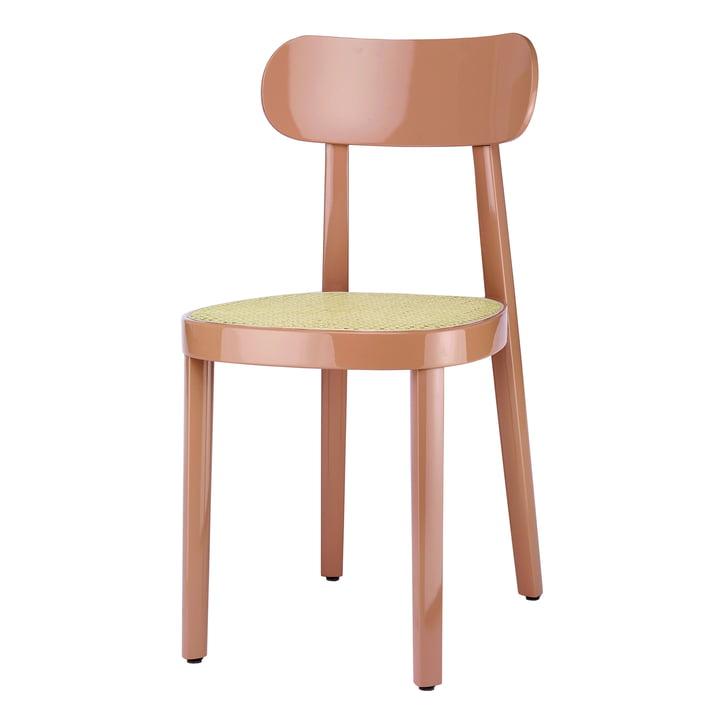 118 Stuhl von Thonet mit Rohrgeflecht mit Kunststoffstützgewebe / Buche altrosa hochglanz lackiert