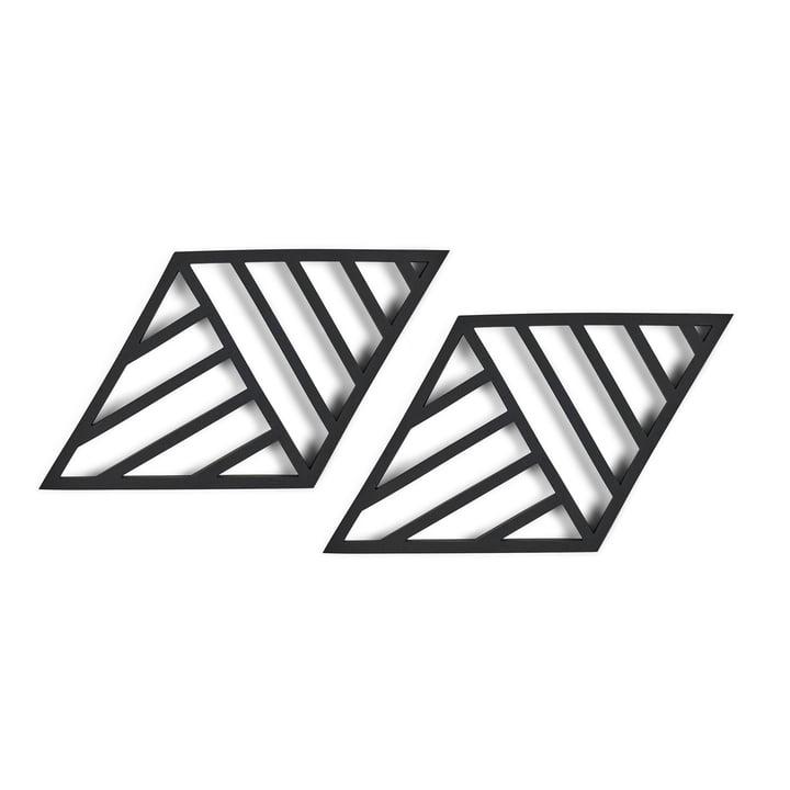 Rhombus Lines Untersetzer 20 x 11,5 cm  (2er-Set) von Zone Denmark in schwarz