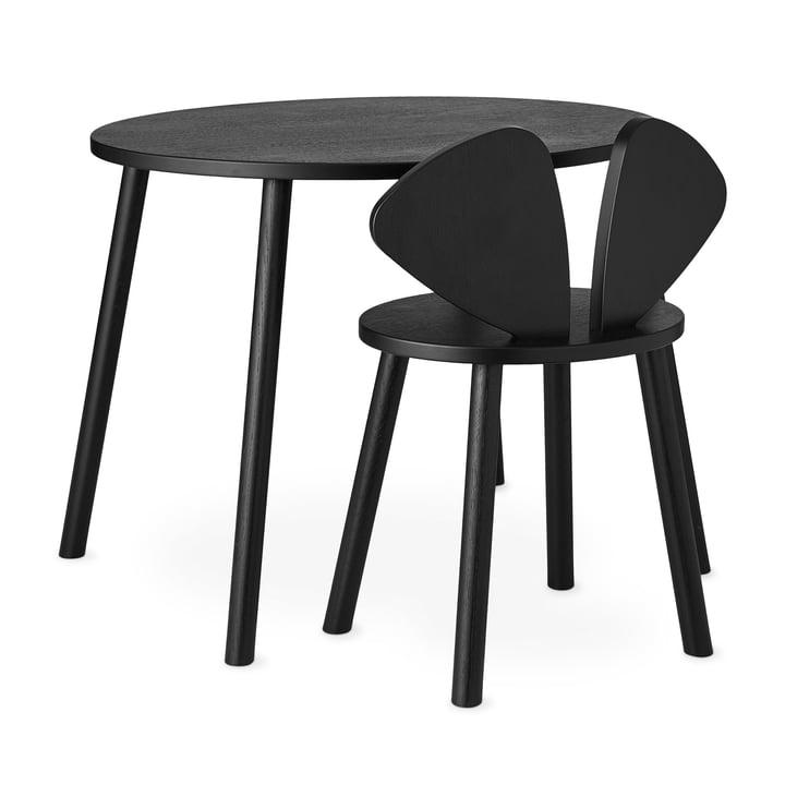 Mouse School Set (Junior - Stuhl und Tisch) von Nofred in schwarz