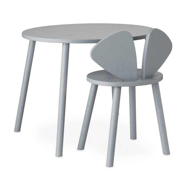 Mouse School Set (Junior - Stuhl und Tisch) von Nofred in grau