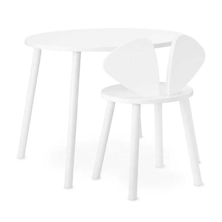 Mouse School Set (Junior - Stuhl und Tisch) von Nofred in weiß