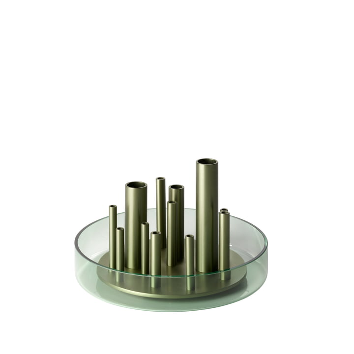 Ikeru Vase Low von Fritz Hansen in Forest green