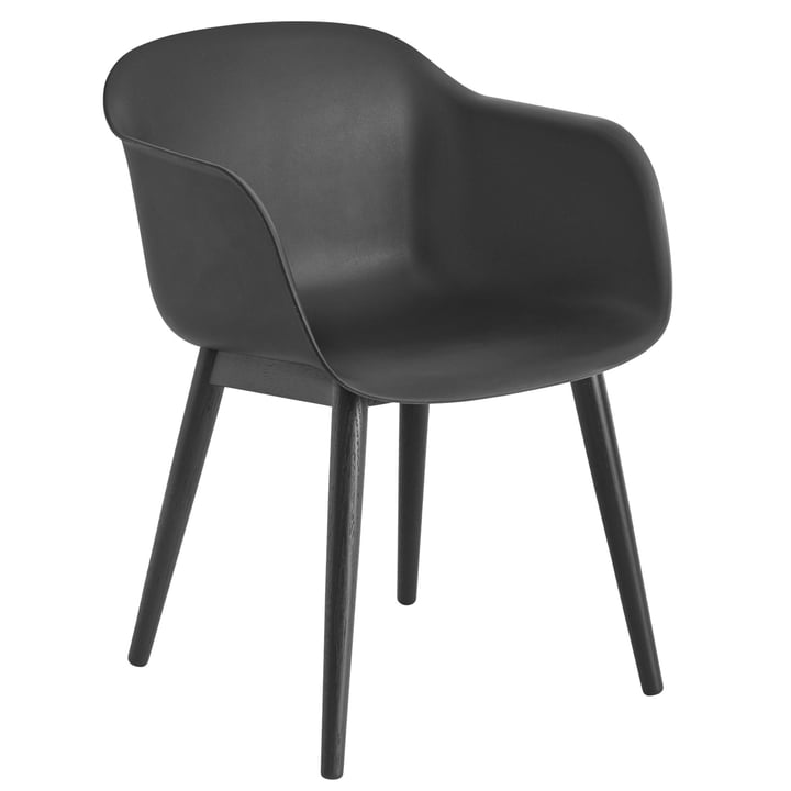 Fiber Chair Wood Base, schwarz von Muuto