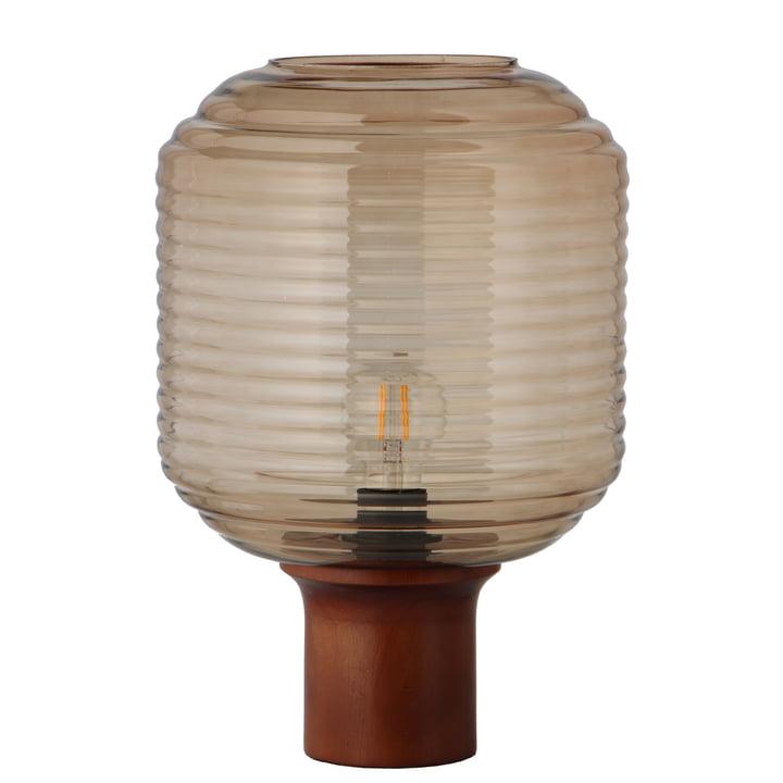 Honey Tischleuchte Ø 26 cm, Glas amber / Kautschukholz dunkel gebeizt von Frandsen