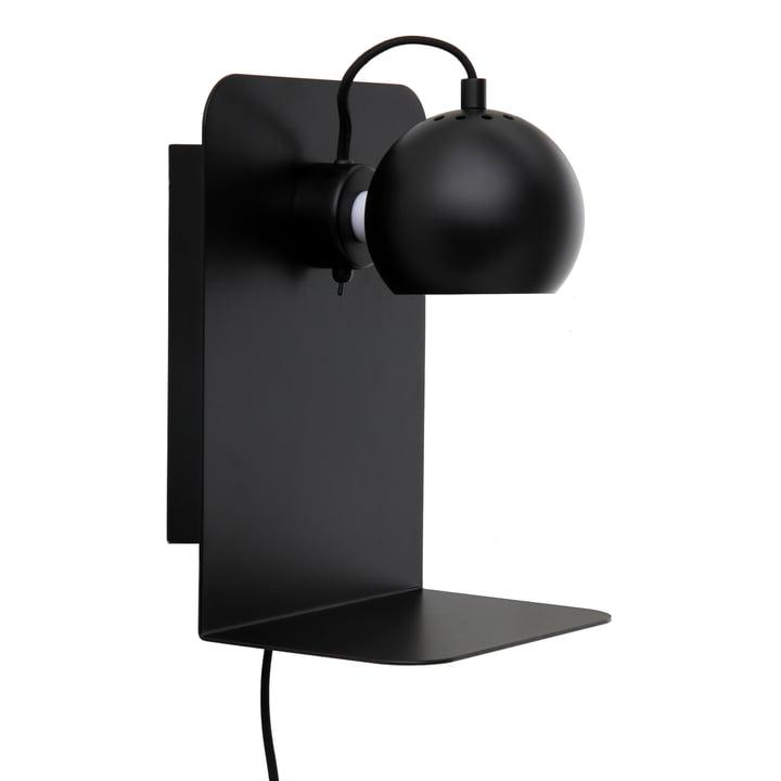 Ball Wandleuchte USB mit Ablage, schwarz matt von Frandsen