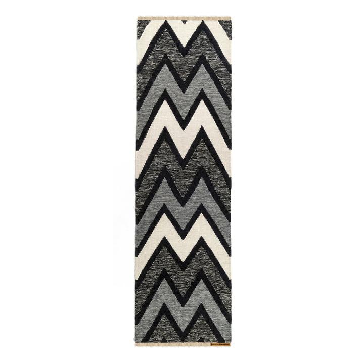 Teppich Zack 80 x 250 cm von Born in Sweden in dunkelgrau / hellgrau / weiß / schwarz