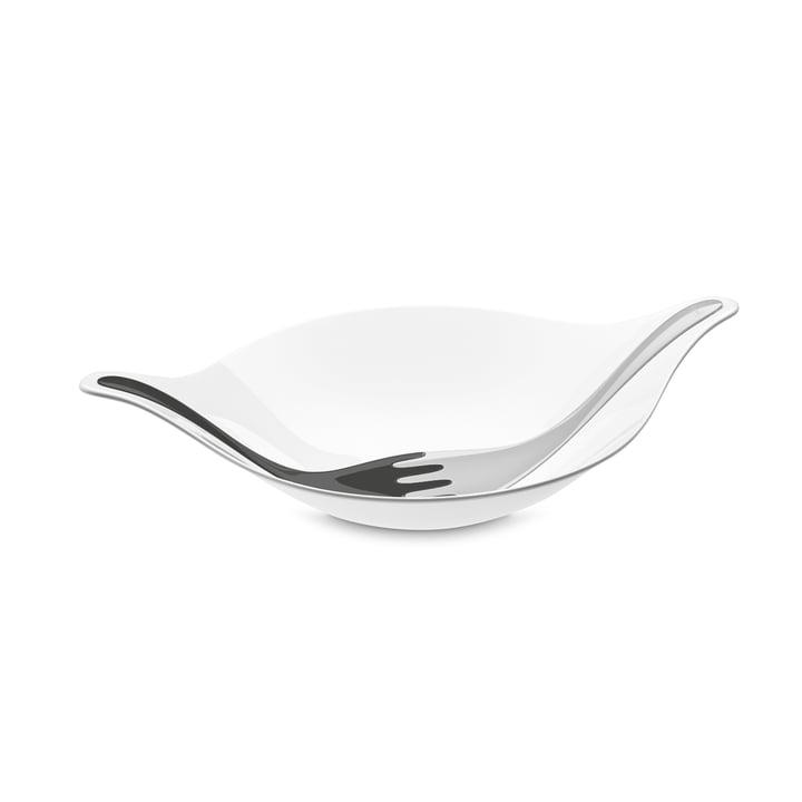 Leaf L+ Salatschale mit Besteck 3 l von Koziol in cotton white-deep grey / soft grey