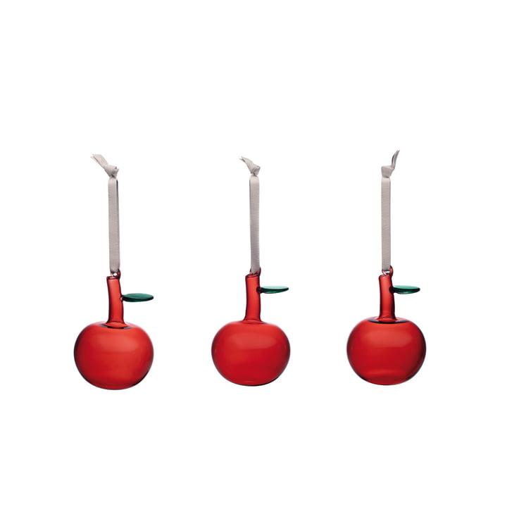Glasapfel (3er-Set) von Iittala in rot