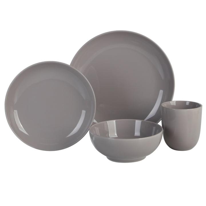 Mix & Match Geschirr-Set, 4-teilig, grau aus der Connox Collection