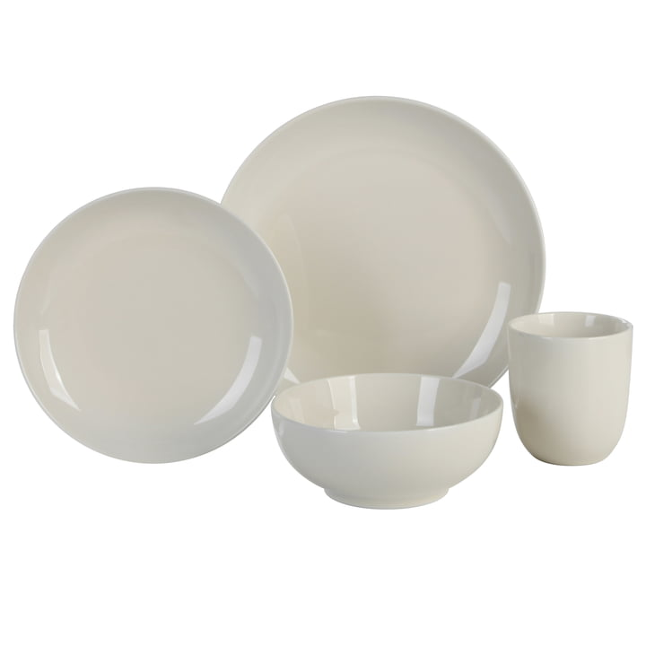 Mix & Match Geschirr-Set, 4-teilig, creme in der Connox Collection
