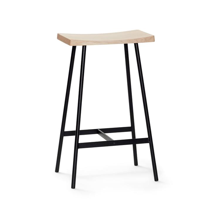 HC2 Barhocker H 65 cm von Andersen Furniture in Eiche weiß pigmentiert / Stahl schwarz