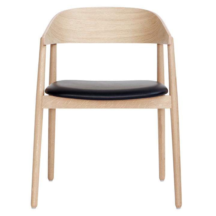 AC2 Stuhl von Andersen Furniture in Eiche weiß pigmentiert / Leder schwarz