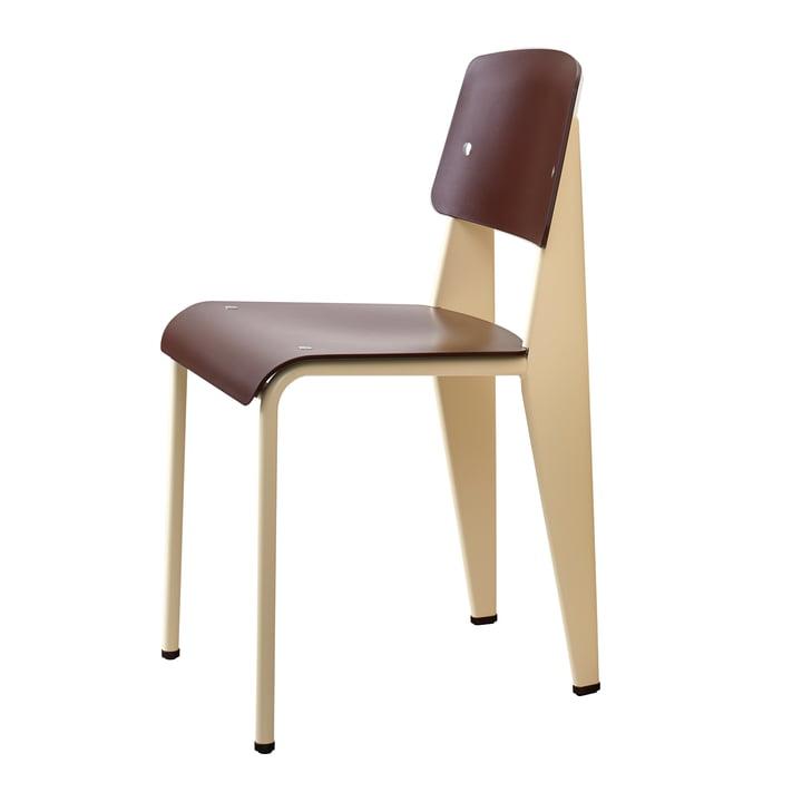 Prouvé Standard Stuhl von Vitra in Nussbaum schwarz pigmentiert / ecru