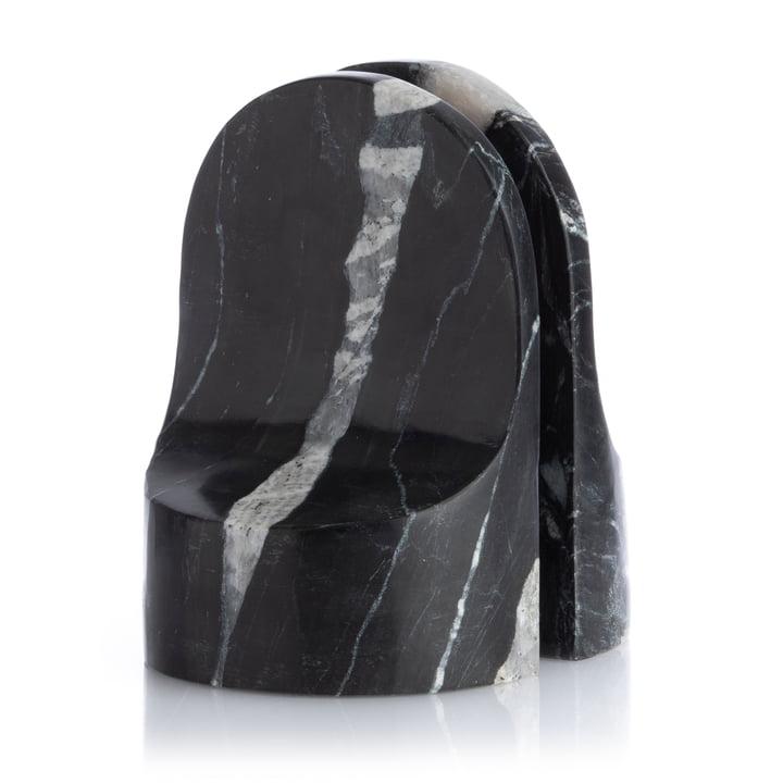 Emoji Buchstütze (2er-Set), Marmor schwarz von XLBoom