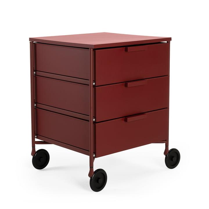 Mobil Container mit Rollen, 3 Schubladen, pflaume matt von Kartell