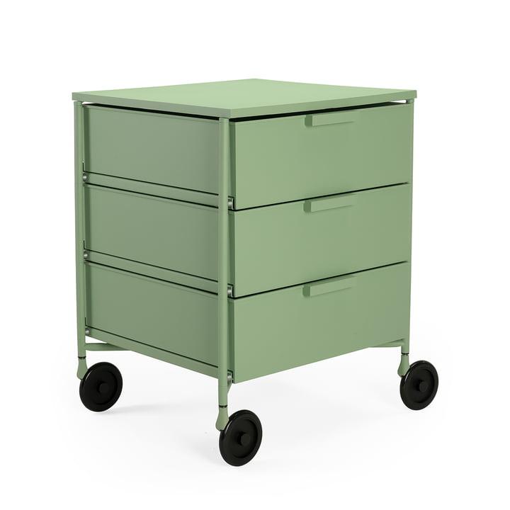 Mobil Container mit Rollen, 3 Schubladen, hellgrün matt von Kartell