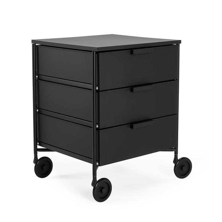 Mobil Container mit Rollen, 3 Schubladen, schwarz matt von Kartell