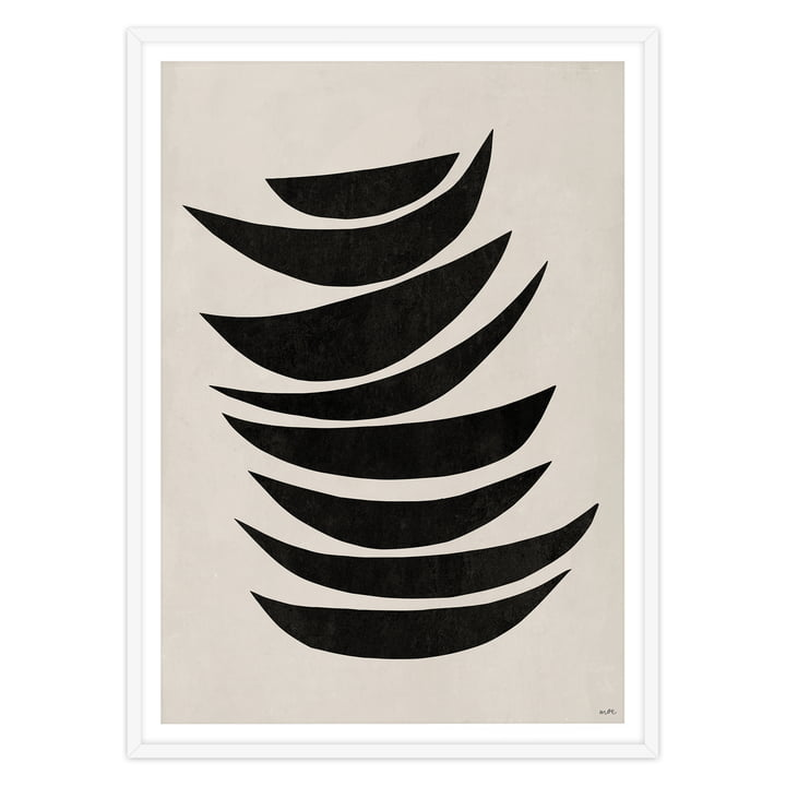 artvoll - PROCESSION No 1 black, Rahmen weiß