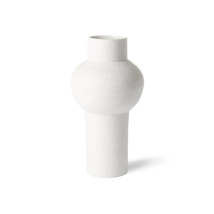 HKliving - Vase straight M, Ø 15 x 30,5 H cm, weiß gesprenkelt