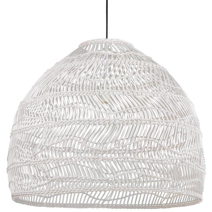 Wicker Pendelleuchte L Ø 80 x H 60 cm von HKliving in weiß
