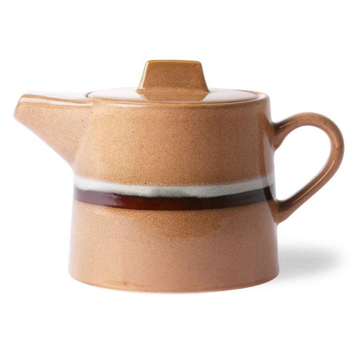 70's Teekanne Stream 1,2 l von HKliving in pfirsich / weiß / braun