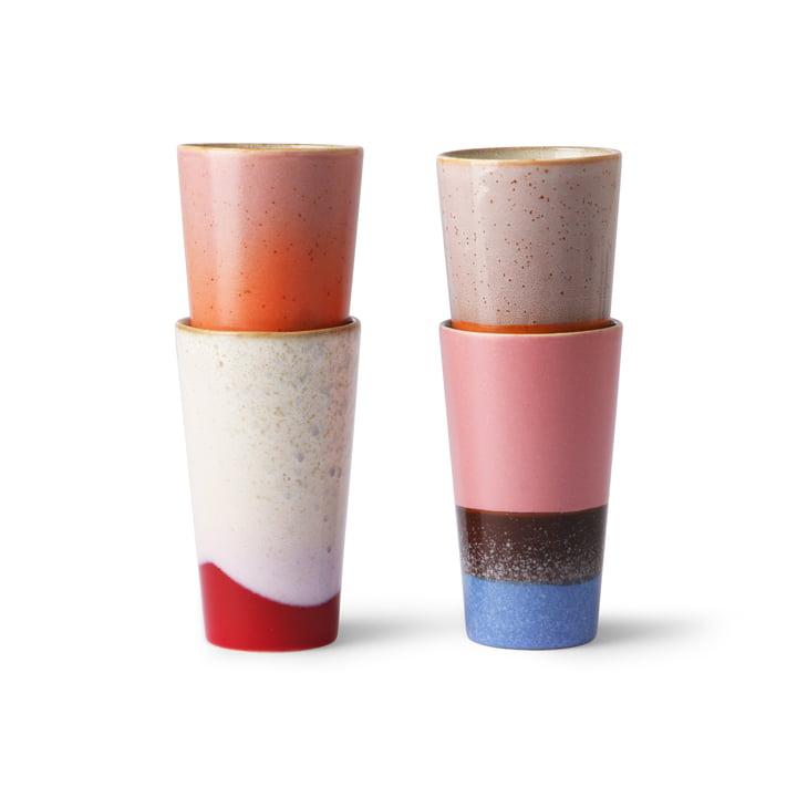 70's Milchkaffee Becher 0,28 l (4-tlg.) von HKliving in mehrfarbig