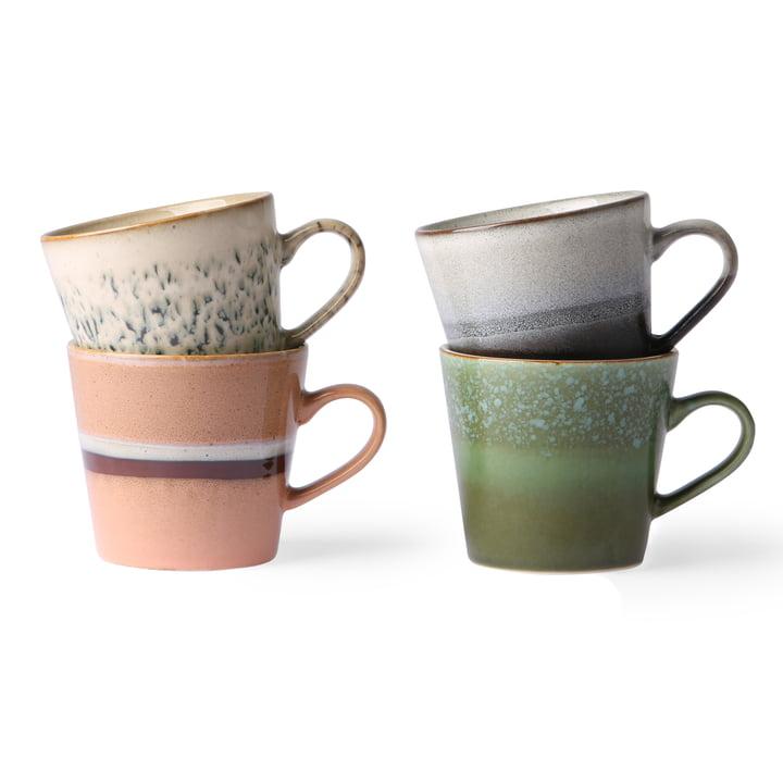 70's Cappuccino Tassen 0,3 l (4-tlg.) von HKliving in mehrfarbig