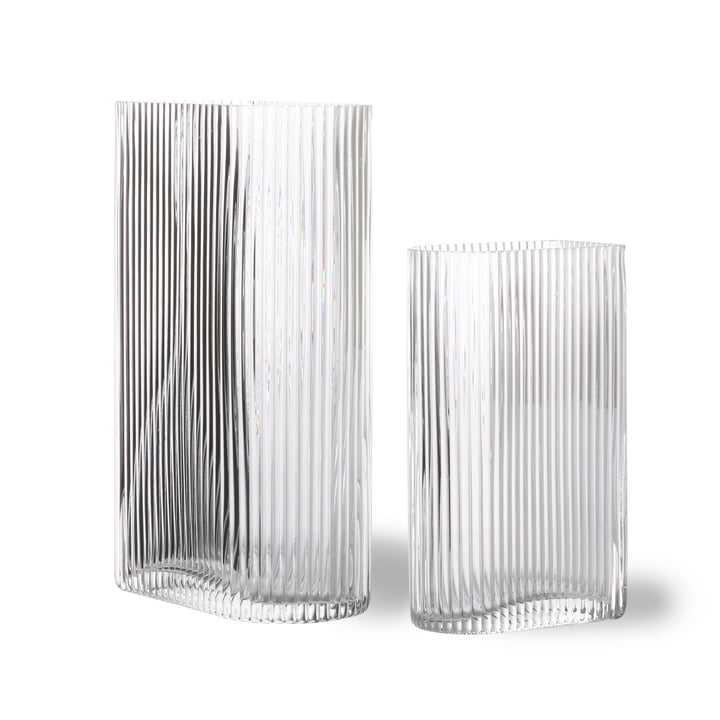 Ribbed Glas-Vase, klar (2er-Set) von HKliving