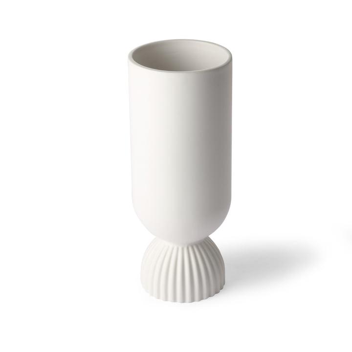 Ribbed Vase, Ø 11 x H 25 cm, weiß von HKliving